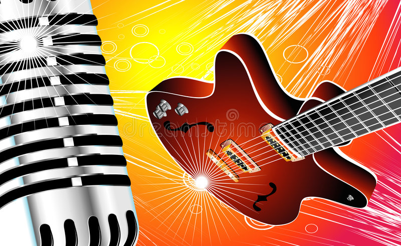 Guitar and Microphone royalty free stock photo