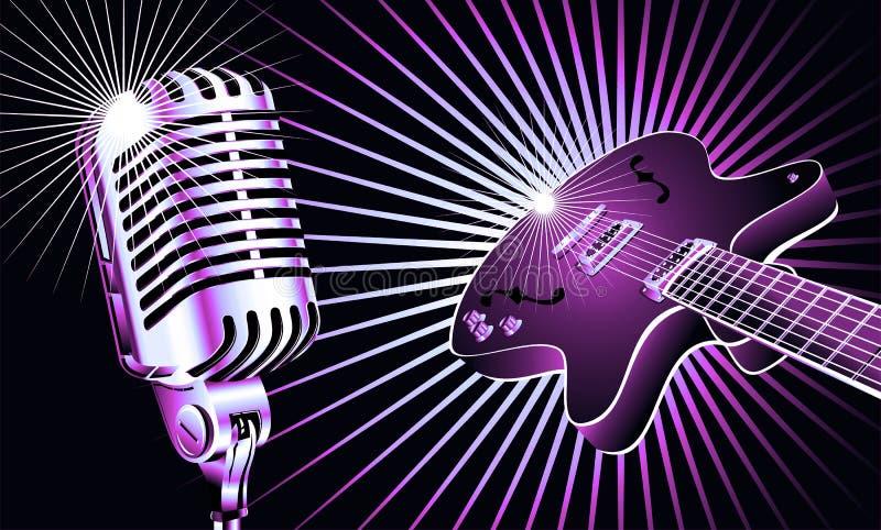 Guitar and Microphone stock photos