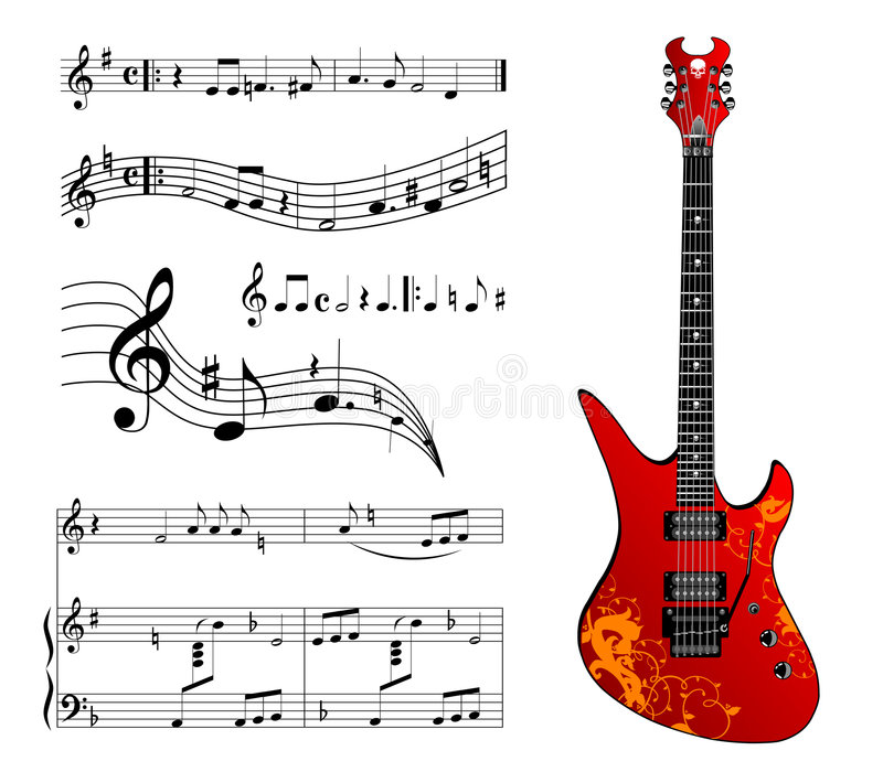 Guitar and music stock illustration