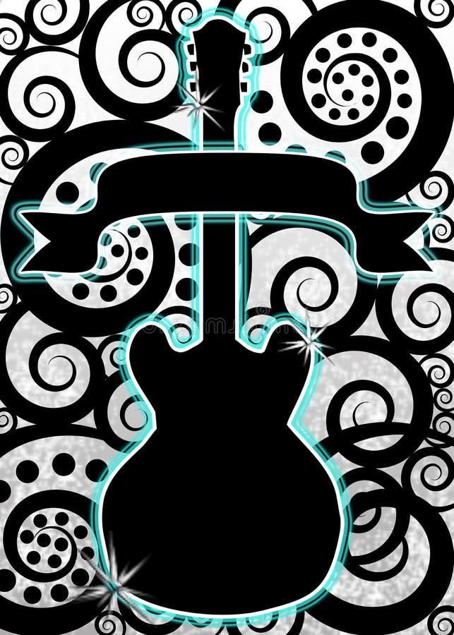 Guitar music spirals poster. Guitar with spirals and black blank banner - poster, advert, flyer or frame stock illustration