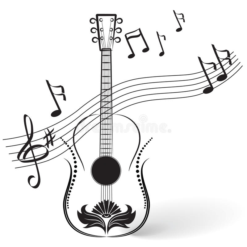 guitar and notes stock vector illustration of leaf shape 12907354 rh dreamstime com Music Notes Vector Art Free Music Notes SVG
