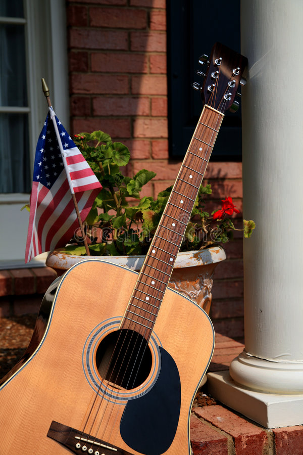 Free Guitar On Porch Royalty Free Stock Images - 2757569