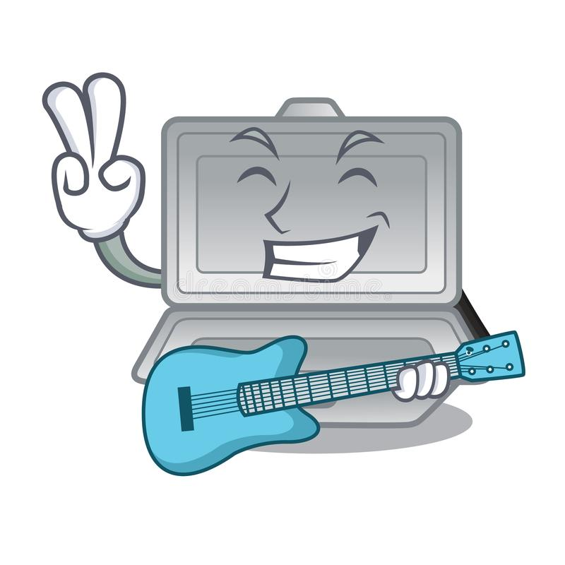 With guitar open styrofoam in the character box. Vector illustration vector illustration