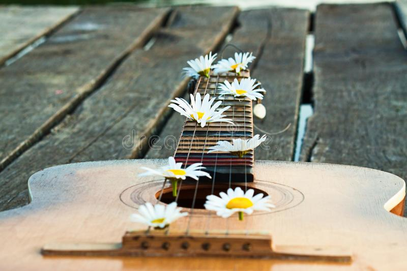 Guitar outdoor with flower. Guitar outdoor with spring flower. Nature background royalty free stock image