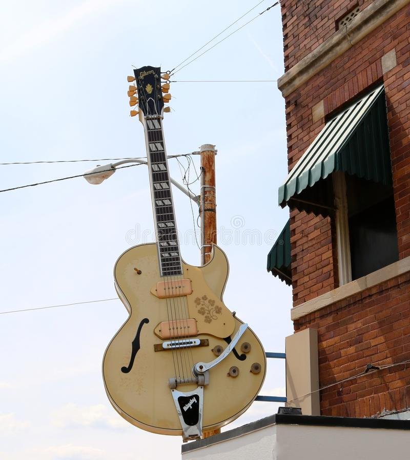 Guitar Outside Of The World Famous Sun Studio. In Memphis Tennessee royalty free stock images
