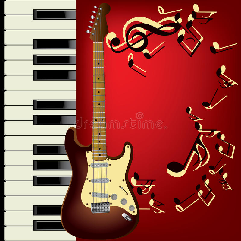 Guitar and piano. Piano and guitar. Music background stock illustration