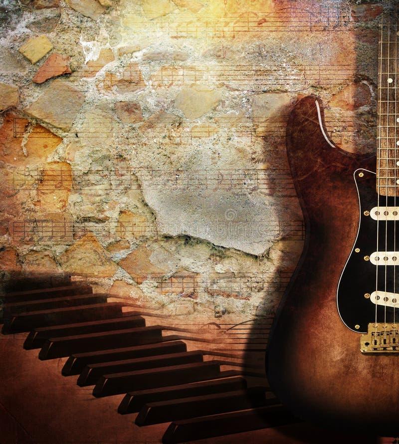 Guitar and piano on brick wall royalty free illustration