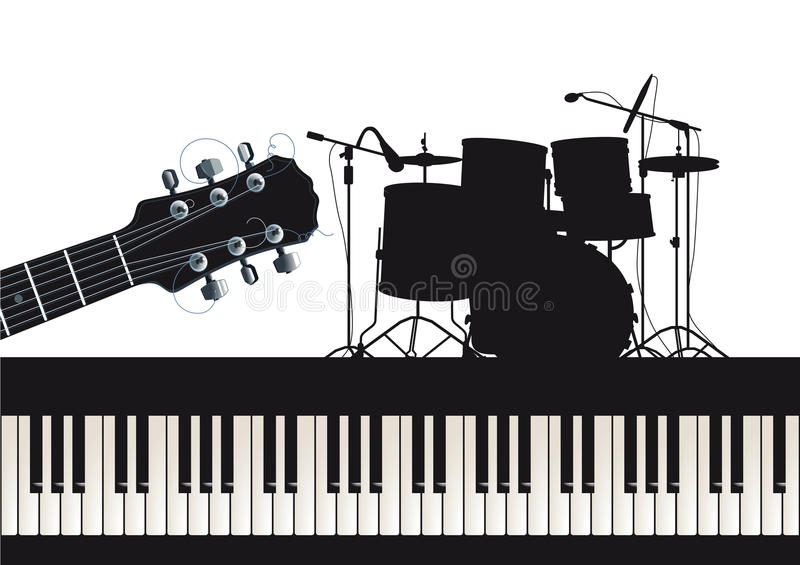 Guitar piano and drums stock illustration