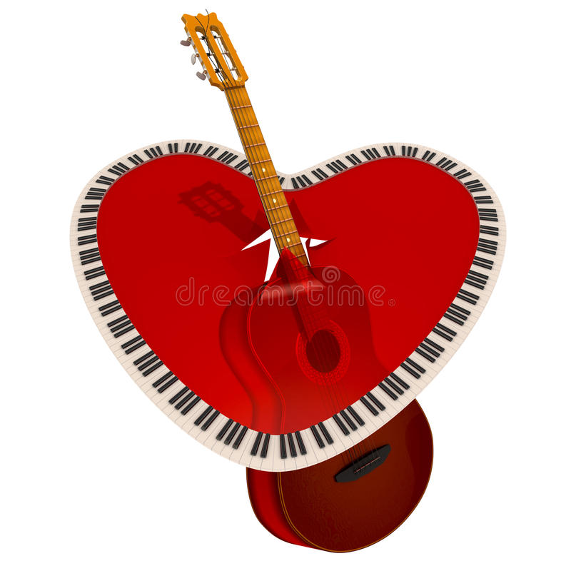 Guitar and piano keyboard royalty free illustration