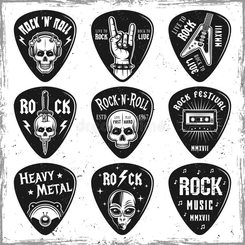 Guitar picks or mediators vector elements vector illustration