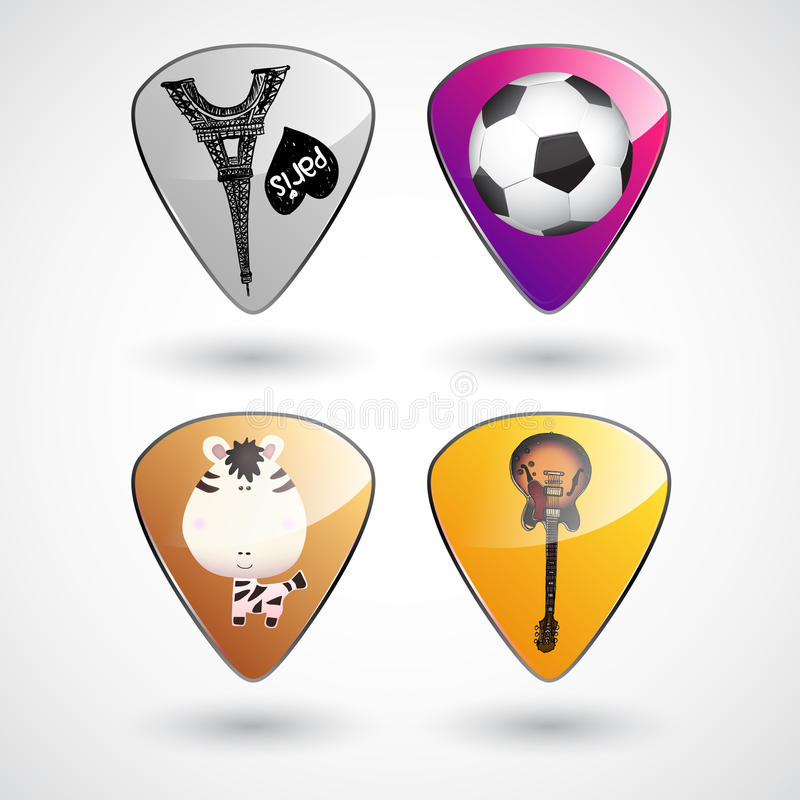 Download Guitar Picks Or Plectrums With Custom Designs Stock Illustration - Image: 29104462