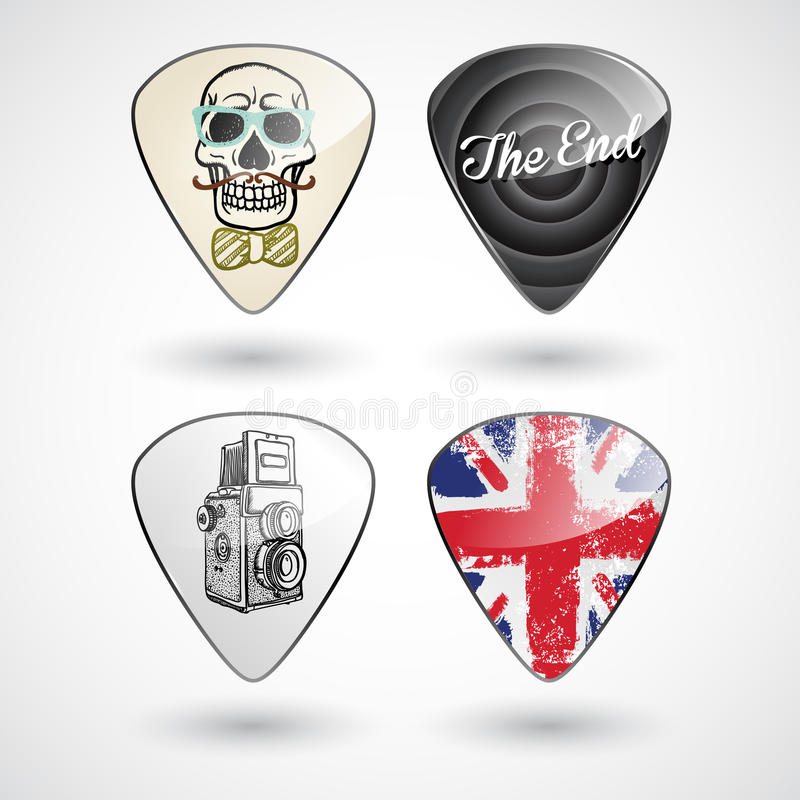 Guitar Picks Or Plectrums With Custom Designs Stock Images