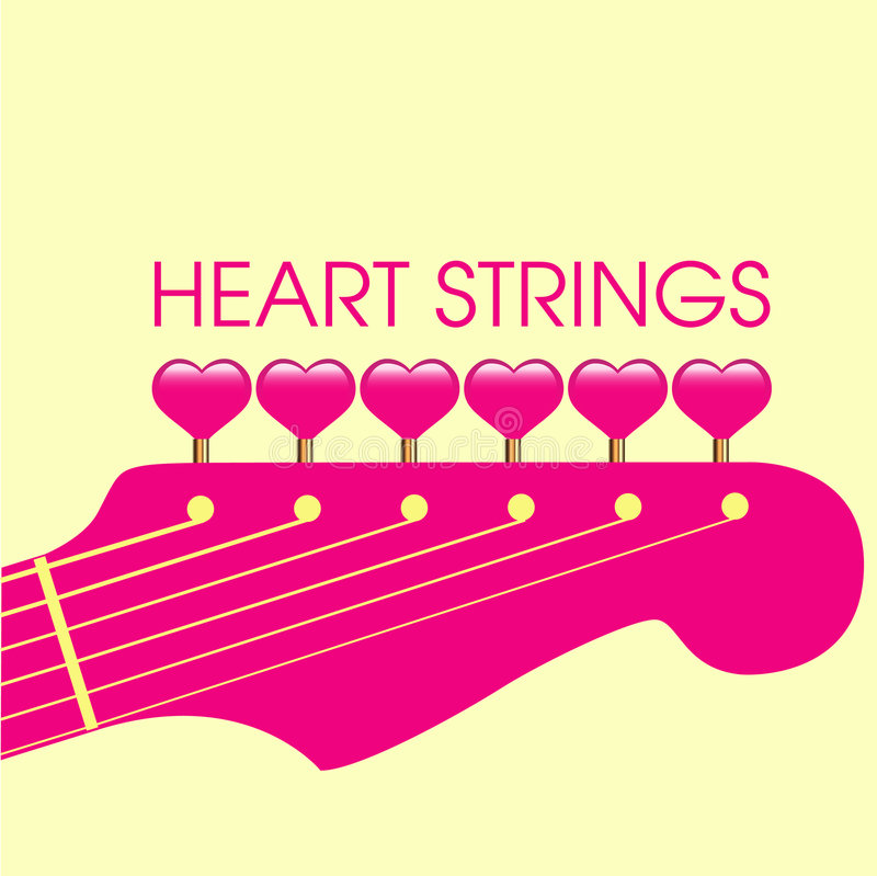 Guitar and pink hearts stock photo
