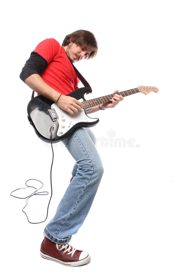 Guitar player. Playing rock and roll royalty free stock image