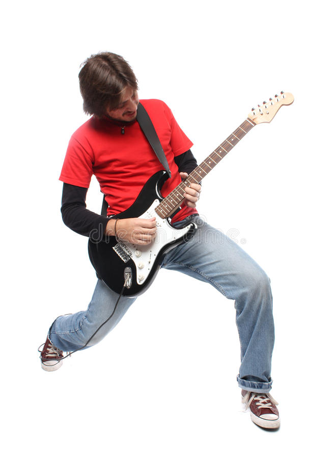 Guitar player. Playing rock and roll royalty free stock photography