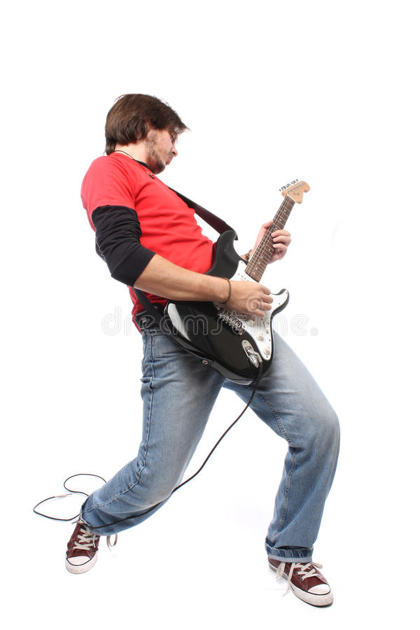 Guitar player. Playing rock and roll royalty free stock images