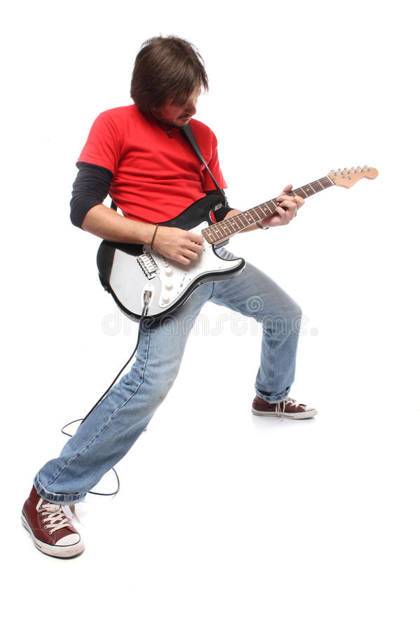 Guitar player. Playing rock and roll royalty free stock photo
