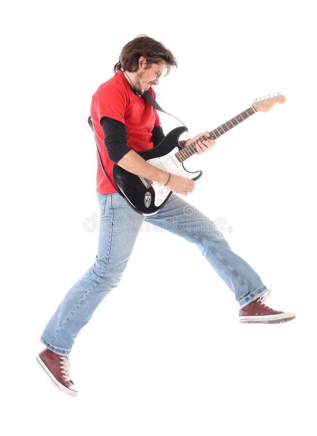 Guitar player. Playing electric guitar on air royalty free stock images