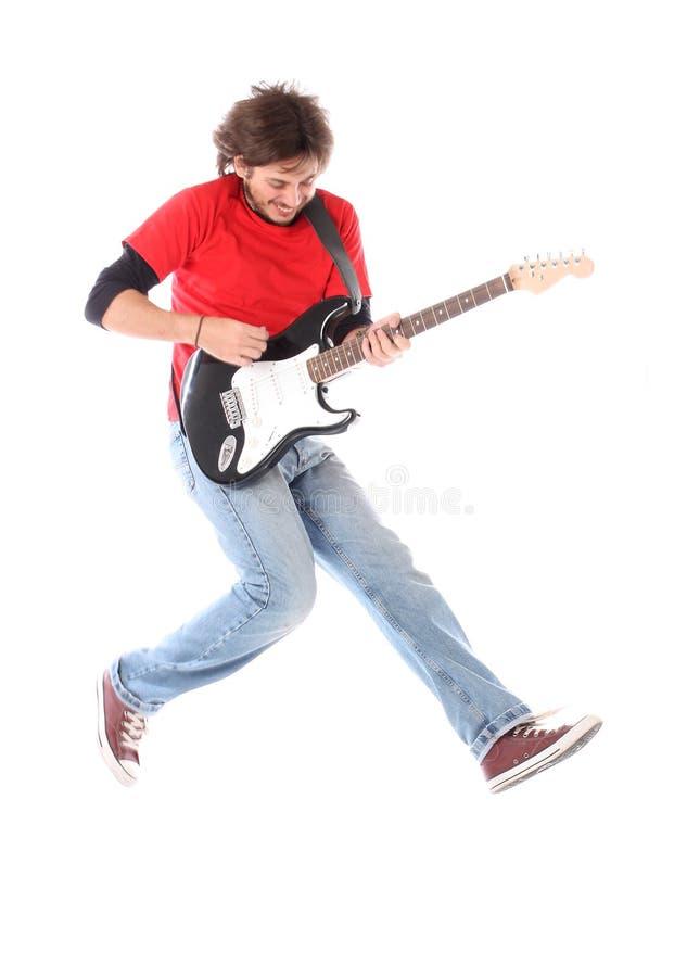 Guitar player. Playing electric guitar on air stock photos