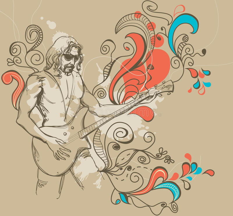 The guitar player vector illustration