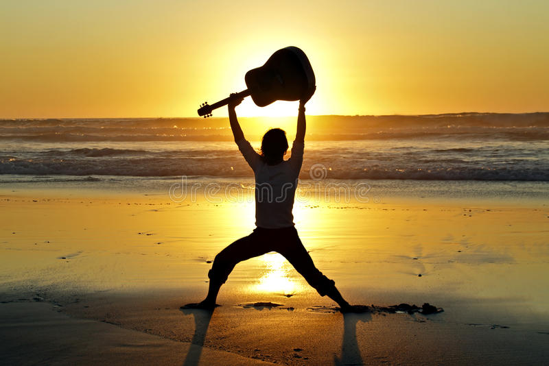 Download Guitar player on the beach stock image. Image of dawn - 21331657