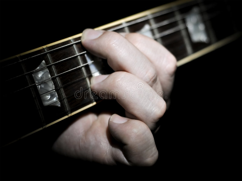 Guitar Player Fingering Chords On Fretboard Stock Image - Image of ...