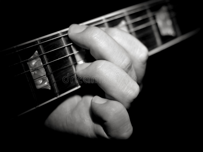Guitar Player Fretboard Playing Chords Black Stock Photo - Image of ...