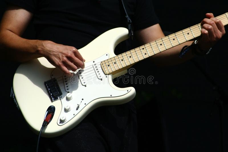 Guitar Player Hands With Electric Stratocaster Type Guitar Stock ...