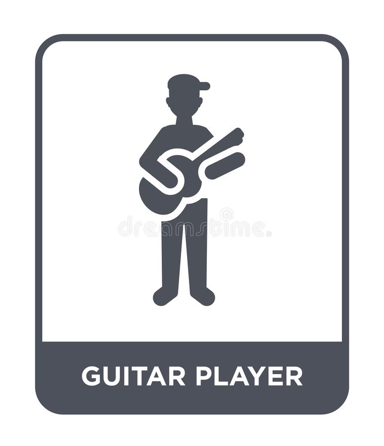 Guitar player icon in trendy design style. guitar player icon isolated on white background. guitar player vector icon simple and. Modern flat symbol for web stock illustration