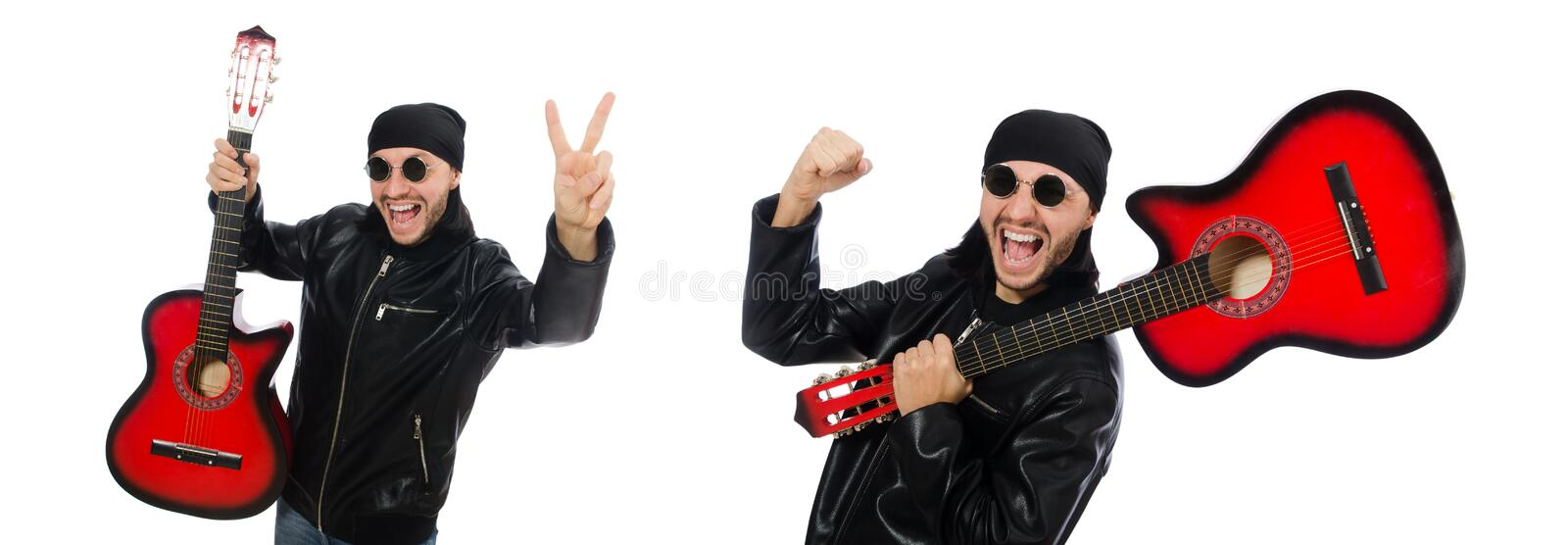 Guitar player isolated on the white stock photos
