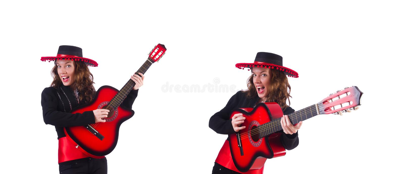 Guitar player isolated on the white royalty free stock image