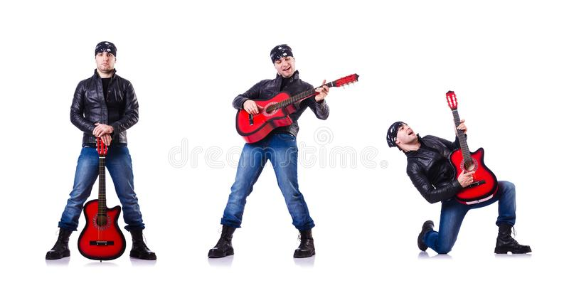 Guitar player isolated on white stock image