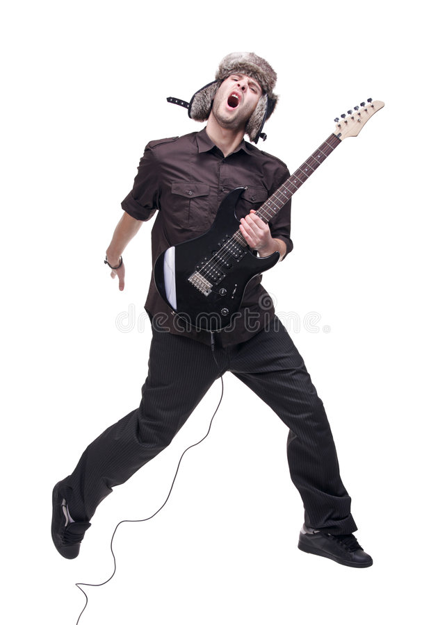 Download Guitar Player Jumping In Midair Stock Photo - Image: 7433002