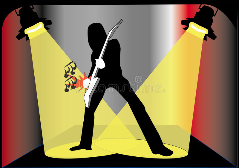 Guitar player by night royalty free illustration
