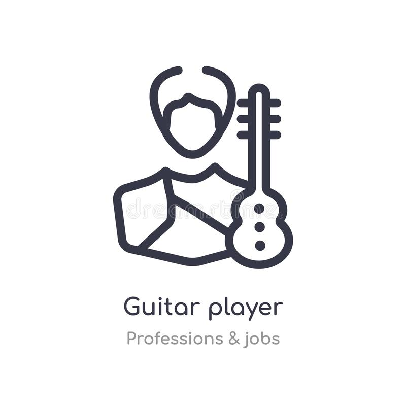 Guitar player outline icon. isolated line vector illustration from professions & jobs collection. editable thin stroke guitar. Player icon on white background royalty free illustration