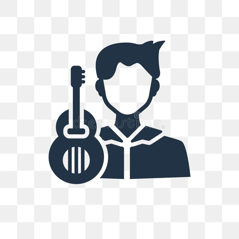 Guitar player vector icon isolated on transparent background, Gu. Itar player transparency concept can be used web and mobile vector illustration