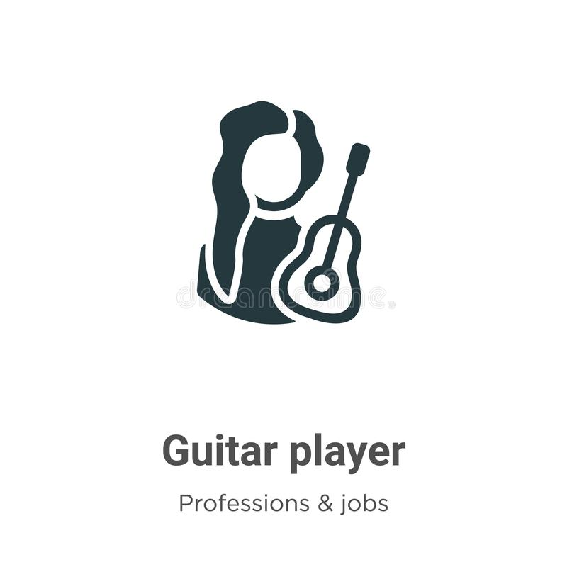 Guitar player vector icon on white background. Flat vector guitar player icon symbol sign from modern professions & jobs. Collection for mobile concept and web stock illustration