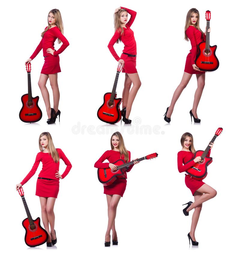 The guitar player woman isolated on white royalty free stock image