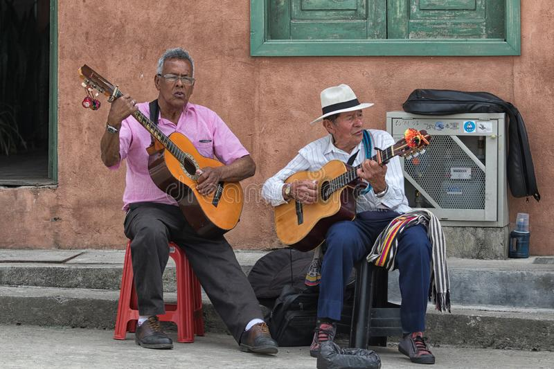 Guitar players in Filandia, Colombia royalty free stock photography