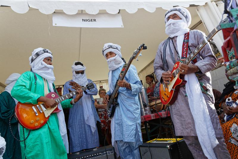 Guitar players from Niger at the Fetes Consulaires stock photos