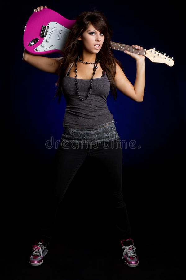 Free Guitar Rockstar Girl Stock Photography - 16368912