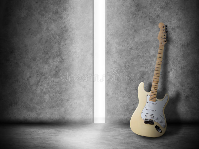 Guitar in the room stock photo