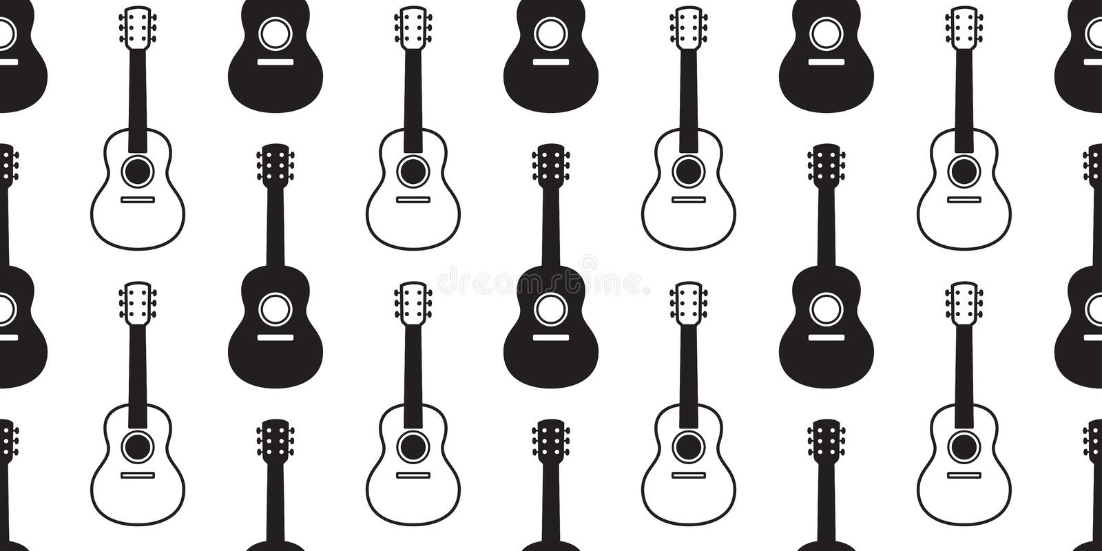 Guitar seamless pattern vector bass ukulele music scarf isolated graphic illustration repeat wallpaper tile background design. Guitar seamless pattern vector royalty free illustration