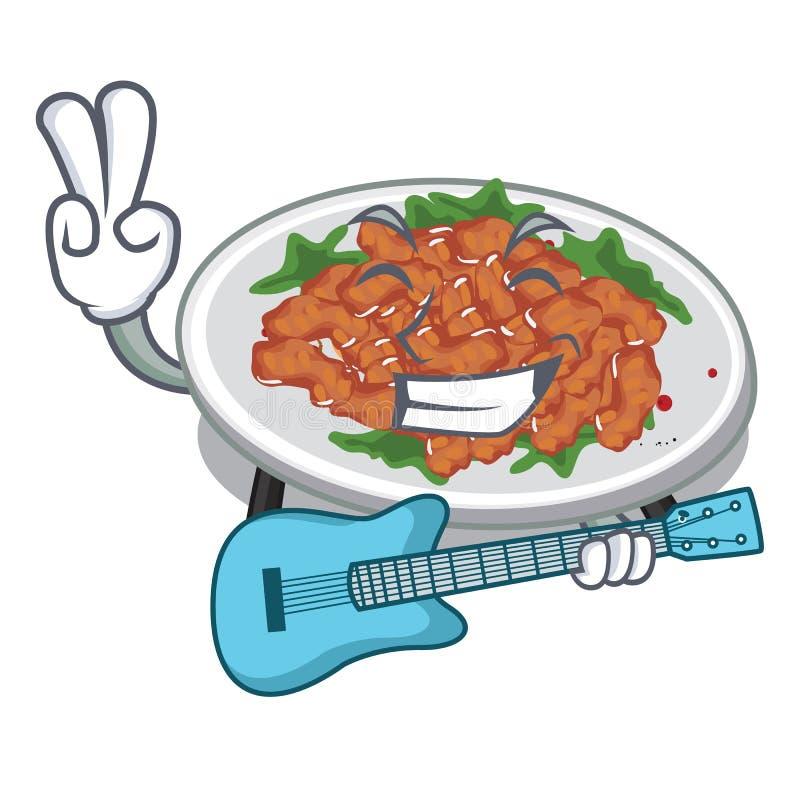 With guitar sesame chicken in a cartoon bowl. Vector illustration stock illustration