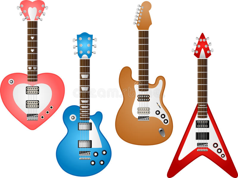 Download Guitar set 3 stock vector. Image of equipments, collection - 14641073