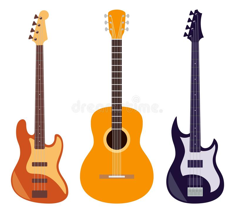 Guitar set. Acoustic and electric guitars isolated on white background. String musical instruments. Cute flat style vector royalty free illustration