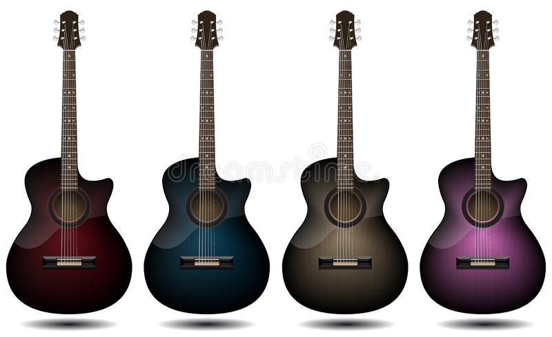 Guitar set isolated on white background. Classic guitar for Your business project. Black, red, blue, brown and pink wooden guitars. Vector Illustration design stock illustration