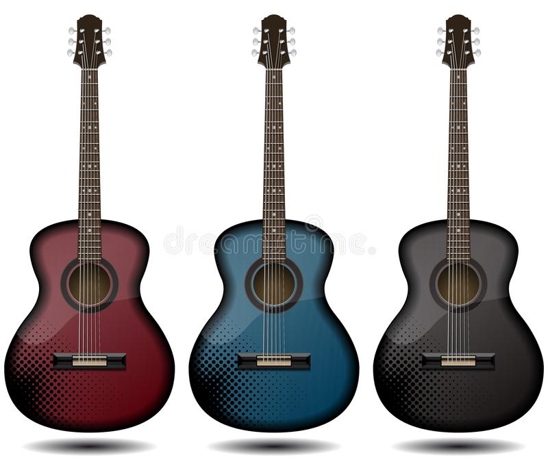 Guitar set isolated on white background. Classic guitar for Your business project. Black and red and blue wooden guitars. Vector. Illustration design stock illustration