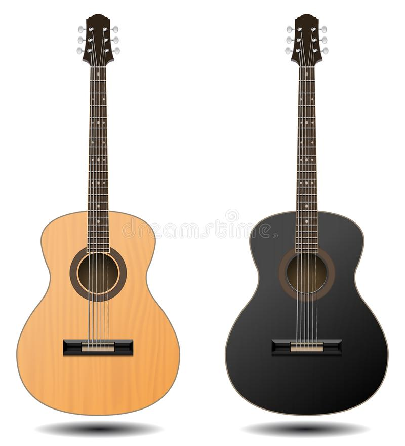 Guitar set isolated on white background. Classic guitar for Your. Business project. Black and brown wooden guitars. Vector Illustration stock illustration