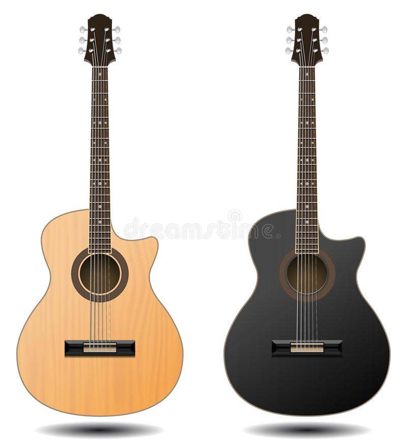 Guitar set isolated on white background. Classic guitar for Your. Business project. Black and brown wooden guitars. Vector Illustration royalty free illustration